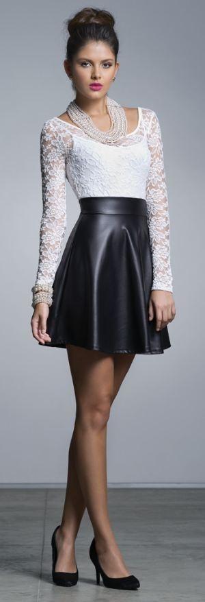 33 best Black Skirt w/ ??? images on Pinterest | Black leather ...