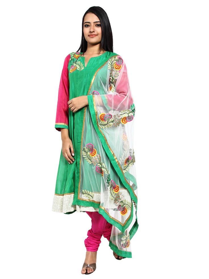 Rs 6,579/   Green Cotton Silk Anarkali Suit
