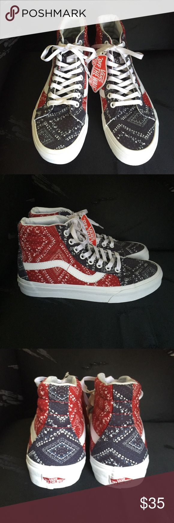 New Authentic Vans  shoes Printed canvas . High top. Can be for men or women Vans Shoes Athletic Shoes