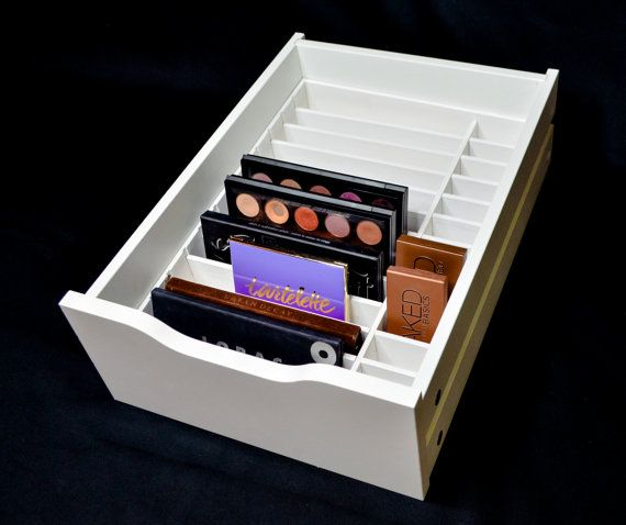 Designed to fit the Alex 9 drawer set.  About this Product This Palette Organizer is handcrafted with high quality wood to fit perfectly into the IKEA Alex 9 Drawer set. With 1 by 8-1/2 and 1 by 2-1/2 sections this organizer will hold up to 26 large and small palettes. This organizer can be easily installed into 1 of the bottom 4 drawers to accommodate an assortment of palette products. This product is also available without the center divider. This allows you the option to have the...
