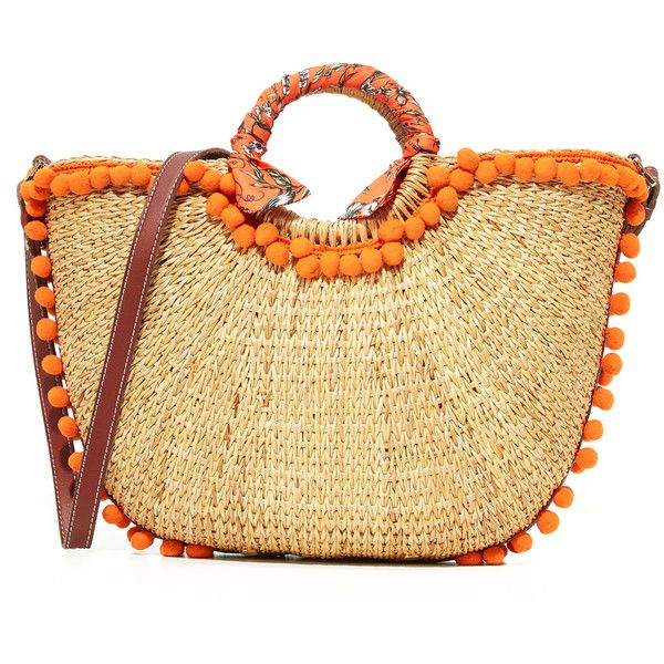 Sam Edelman Straw Beach Tote ($200) ❤ liked on Polyvore featuring bags, handbags, tote bags, orange, handbags totes, zip tote, orange tote bag, straw beach tote and straw tote