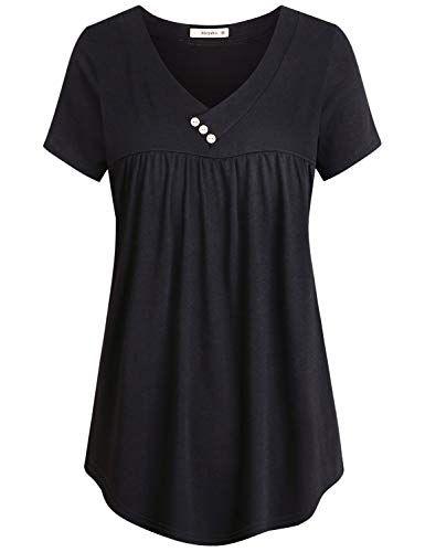 4dd56056a4d Moyabo Summer Tunic Tops for Women Juniors Pleated Shirts V Neckline Short  Sleeve Scalloped HemButton Detail Blouse Black XX-Large