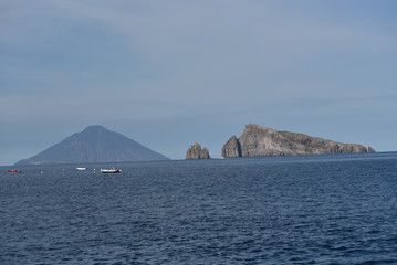 Stromboli and Basiluzzo islands view, Sicily, Italy