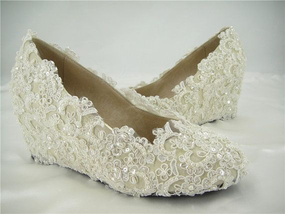 Wedding Shoes Pearl Wedding Shoes  Lace Wedge by SharinaWedding