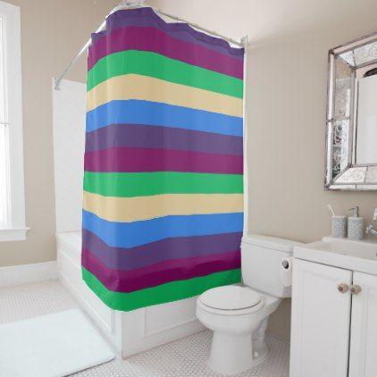 Beige, Blue, Green Stripes Shower Curtain