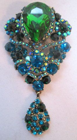 Vintage Brooch Pin,  Multi-color Blue and Green Crystals, #sideeffectsny