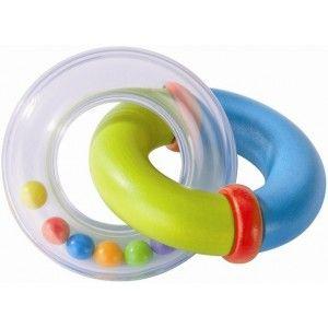 Haba 3350 - Drewniana Grzechotka Ringed Duo z Dwóch Obręczy - Drewnianej i z Tworzywa ABS, zabawka przeznaczona dla niemowlaka od 6 miesiąca