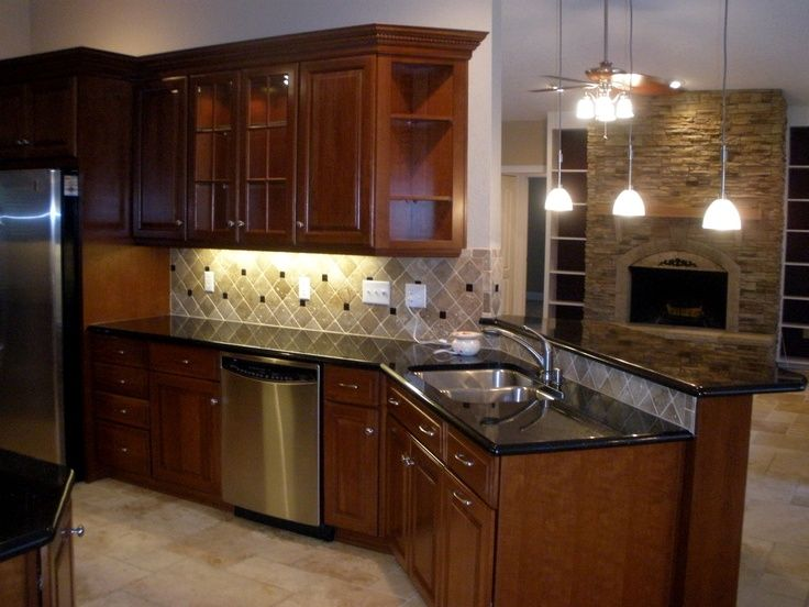1000 images about cherry black granite kitchens on for Best type of wood for kitchen cabinets