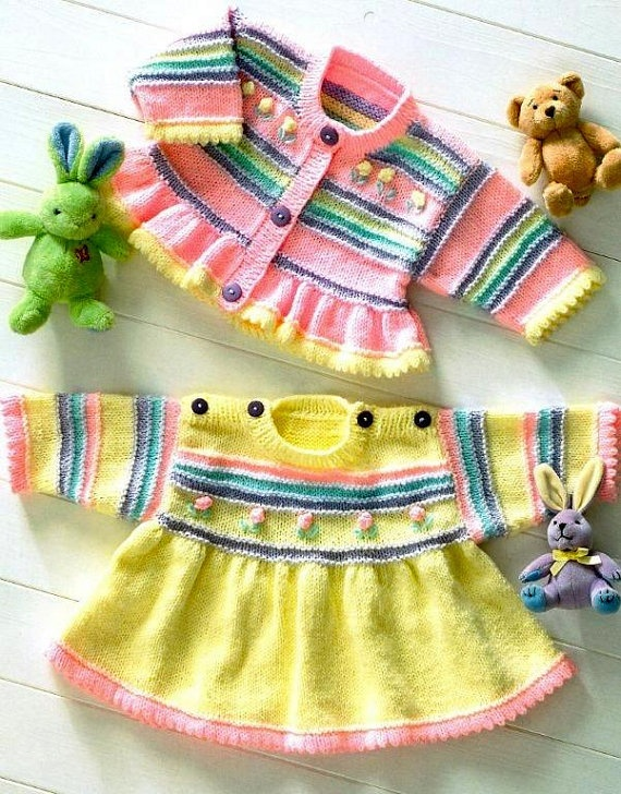 """""""My Hobbies"""" Pin Board by Cheryl Boulding has lots of knit items for babies and children, some for sale and others with patterns, cardigan set is button front candy stripe cardigan with peplum and coordinating dress with full skirt from yoke and button shouders is for sale"""