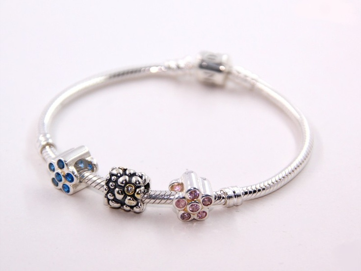 Sterling Silver Blue and Pink Birthstone Flower Combination Charms Bracelets