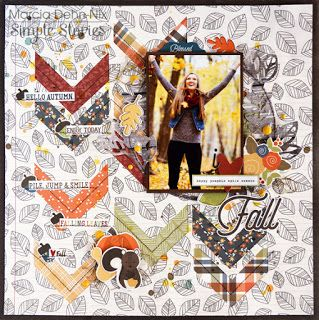 I Love Fall - scrapbook layout created with the Simple Stories Hello Fall collection