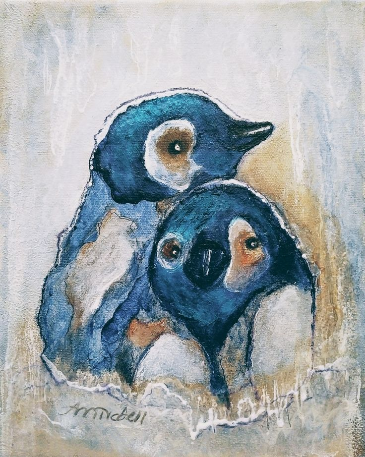 I saw a beautiful penguin watercolor painting on Pinterest and tried to do a comparable painting using acrylics. Here is my acrylic rendering of the penguins on 8 X 10 in. gallery wrap cotton canvas.