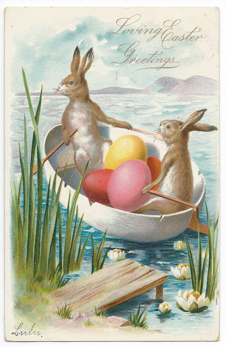 Easter Bunnies in a Boat 1907 Easter Postcard
