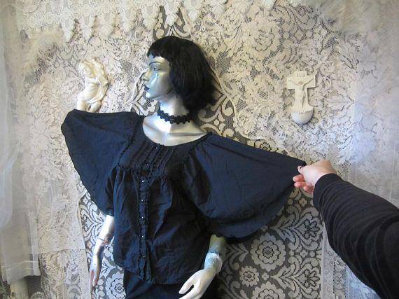 Black Batwing Top Flowy Loose Thin Summer Shirt Boho Goth Grunge Witch Wichy Strega Mori Romantic Festival Weird Belled Sleeve Stevie Nicks