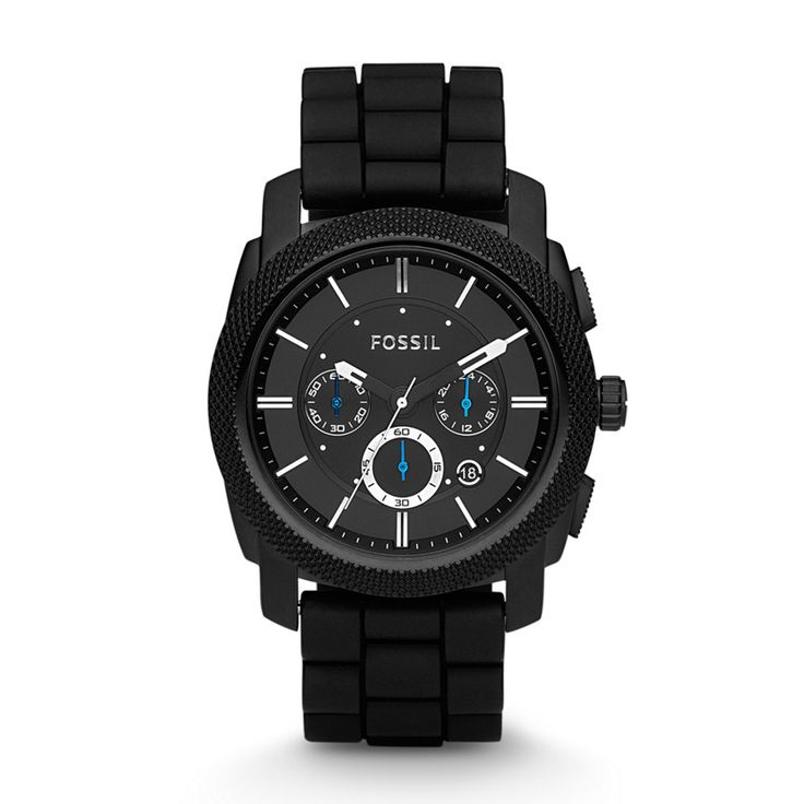 "Scraping the bottom of the barrel in basic-ness, this one has everything I ""need"" for $125 - Fossil Machine Chronograph Silicone Watch – Black"