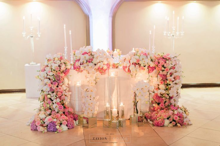 Bride table, bridal table, Soft pink hydrangeas, roses and orchids, silver decor wedding, classic wedding, beautiful bride,  mass flowers, mass arrangements, pink wedding, white wedding, orchids