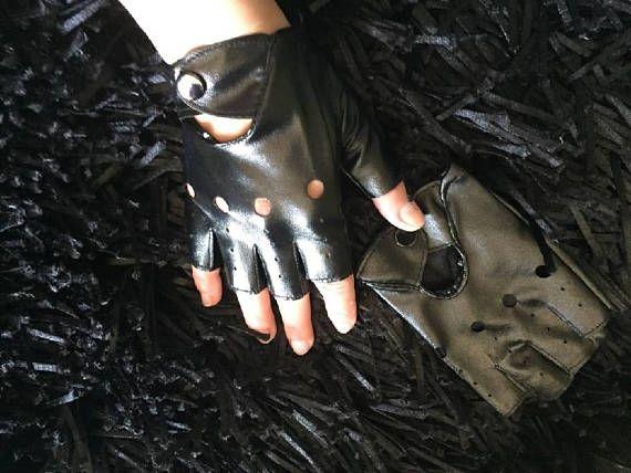 Women's punk gloves fingerless faux leather Mittens