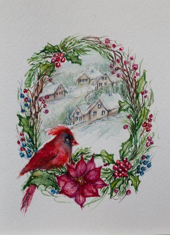 Cardinal Christmas Watercolor Greeting Card Winter Cardinal