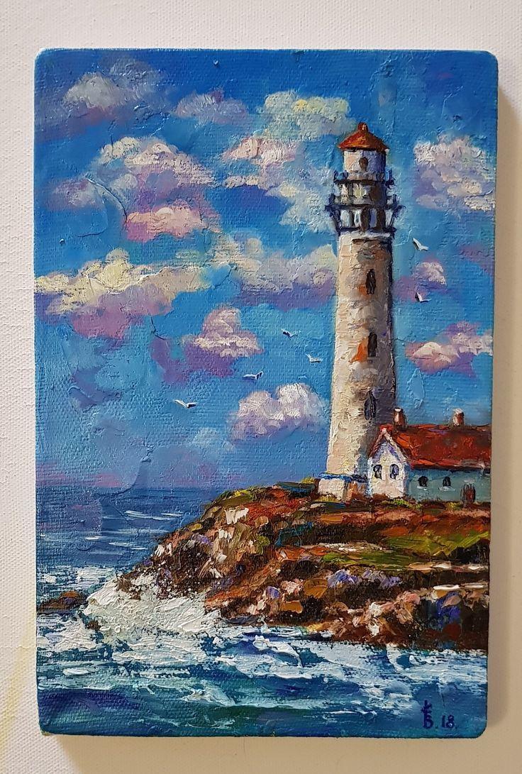 Sea Lighthouse Painting Seascape Portland Head Light Painting Etsy Seaside Paintings Lighthouse Painting Texture Painting