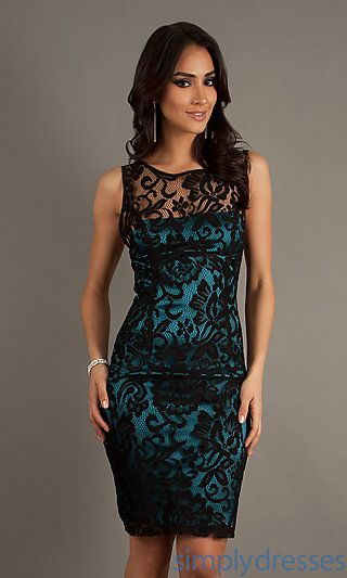 Sleeveless Black Lace Dress at SimplyDresses.com comes in gold. In love.