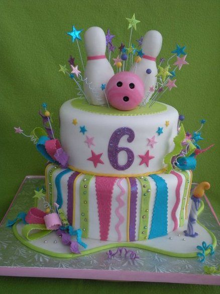 Adorable cake for a girl's bowling party!