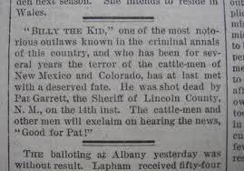 Billy The Kid Shot Dead
