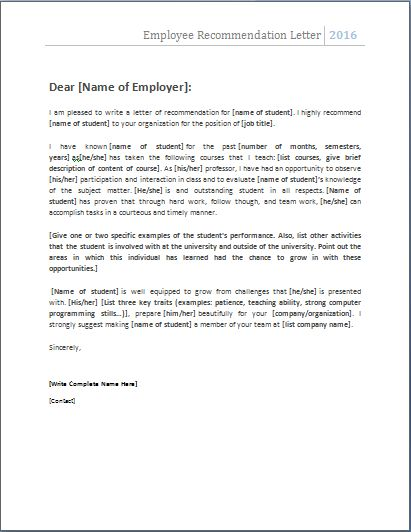 The 25 best Employee recommendation letter ideas on Pinterest