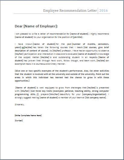 Employer Recommendation Letter Sample Sample Mba Recommendation - product recommendation template