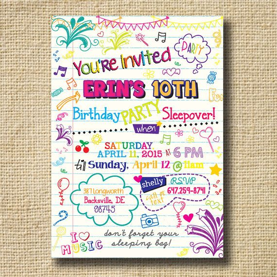 155 best Sleepover party images on Pinterest Birthdays, Birthday - best of birthday invitations sleepover party