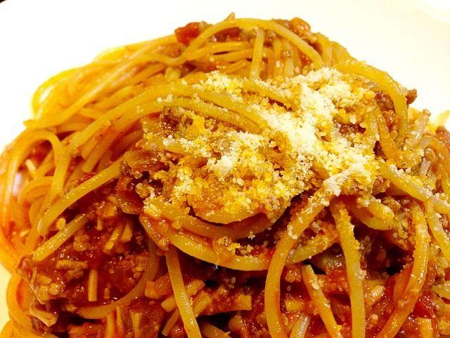 オーソドックスで、素朴だけど、安定した美味しさ\(^o^)/ - 4件のもぐもぐ - スパゲッティ・ミートソース by camille