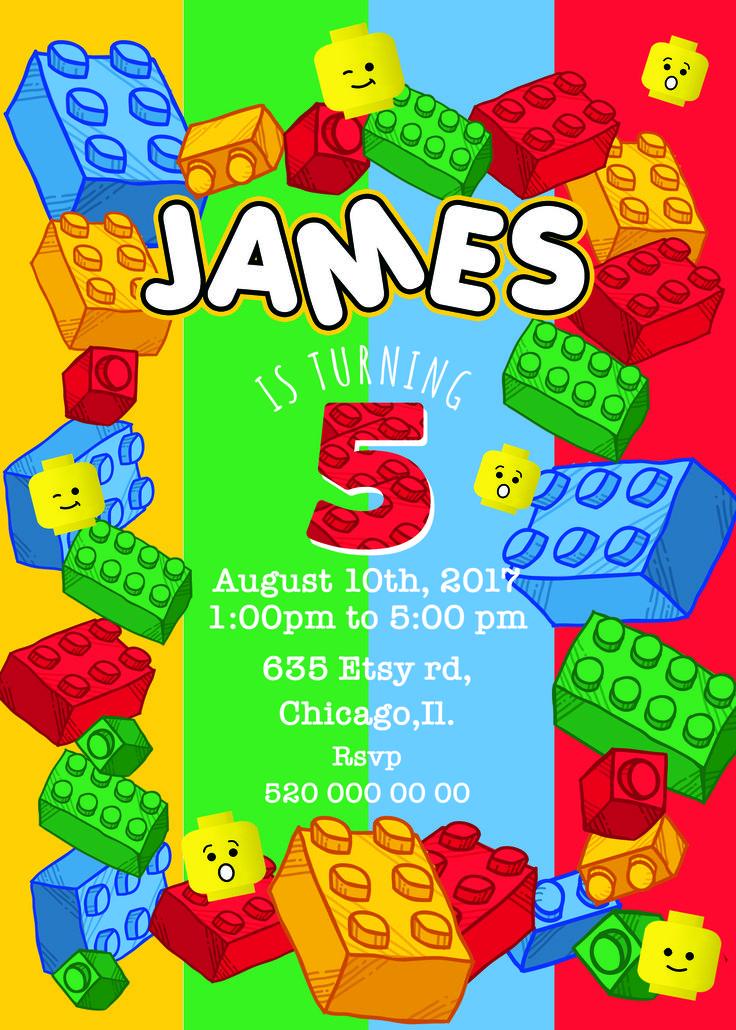 Pinterestteki 25den fazla en iyi Lego birthday invitations fikri