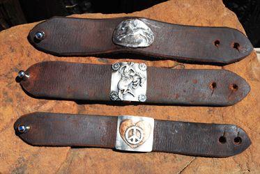 peace heart ...Bunkhouse Designs Leather Bracelet