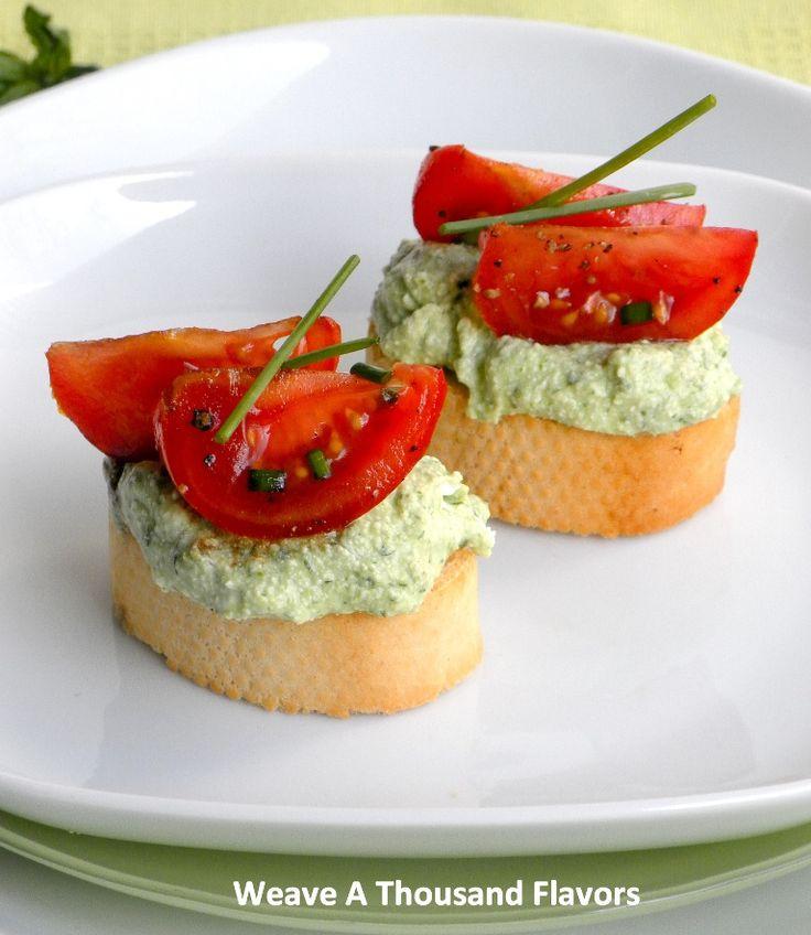 Herb Ricotta & Balsamic Tomato Crostinis