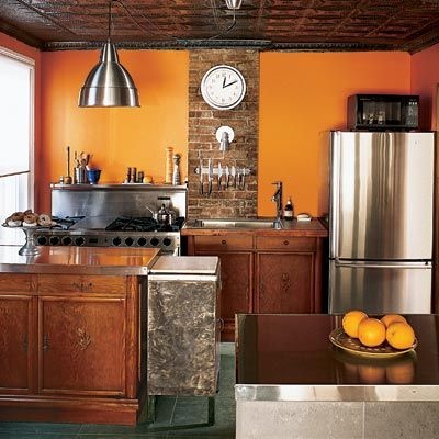 Burnt Orange kitchen - http://orangekitchendecor.siterubix.com/ simple coat of burnt orange paint makes this kitchen look amazing #ppgorange