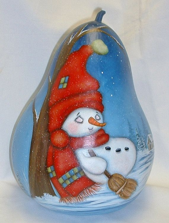 This sleeping snowman is a Sue Hollon pattern I just had to paint. He leans against a tree for a little nap and has a little cottage behind him.
