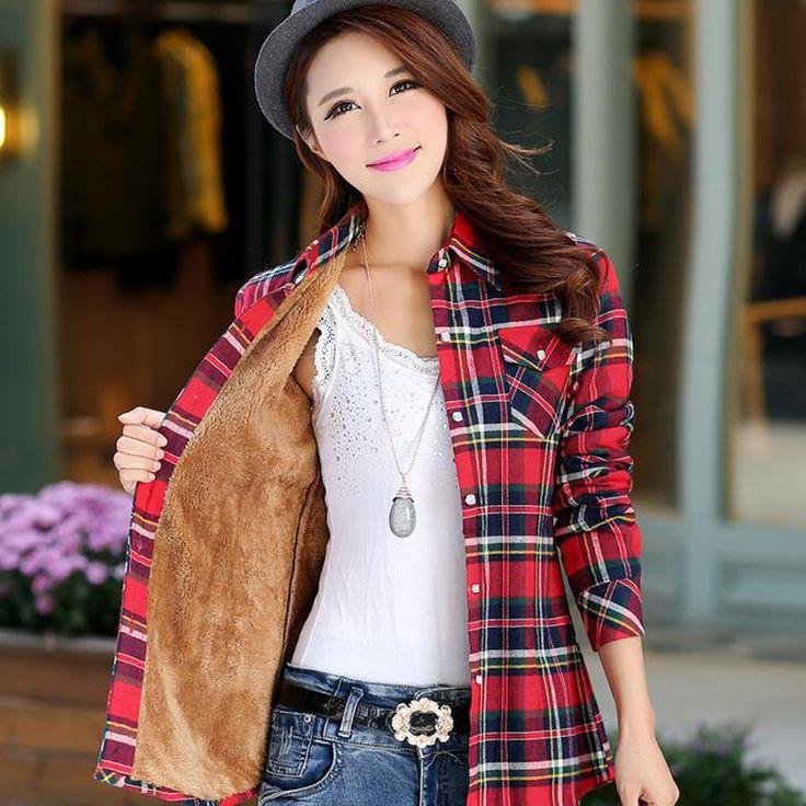 女性シャツ厚いトップスblusaカミーサfemininas秋冬暖かい綿ロングスリーブベルベット格子縞ブラウスフランネルオフィスシャツ