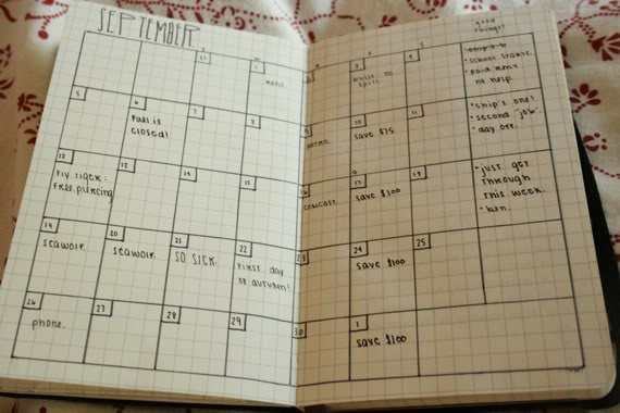 Month Spread, Bullet Style. (Just needs some washi . . .)