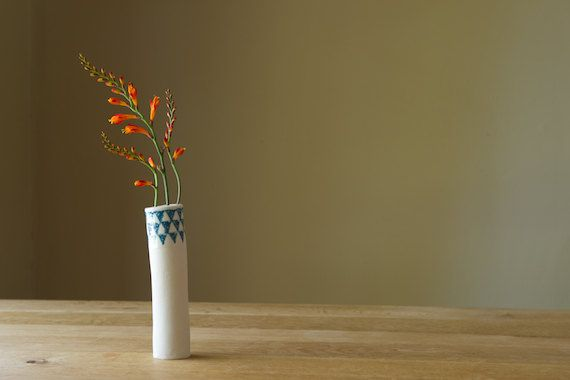Ceramic Bud Vase by RossLab Blue and White Triangles by RossLab