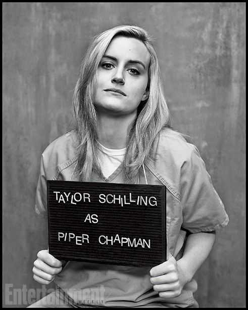 Cast of Orange is the New Black, Piper Chapman, mugshot, great tv, Netflix, powerful face, intense eyes, hands, beauty, portrait, b/w