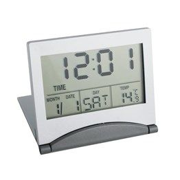 Ideal metal travel clock with time, date, day & temperature. Boxed.