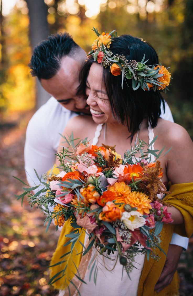 Eden Photography Orange, wedding, autumn, fall, bridal bouquet, dahlia, poppy, poppies, eucalyptus, boho, peach, garden roses, texture, the knot, flower crown, floral crown, hair flowers