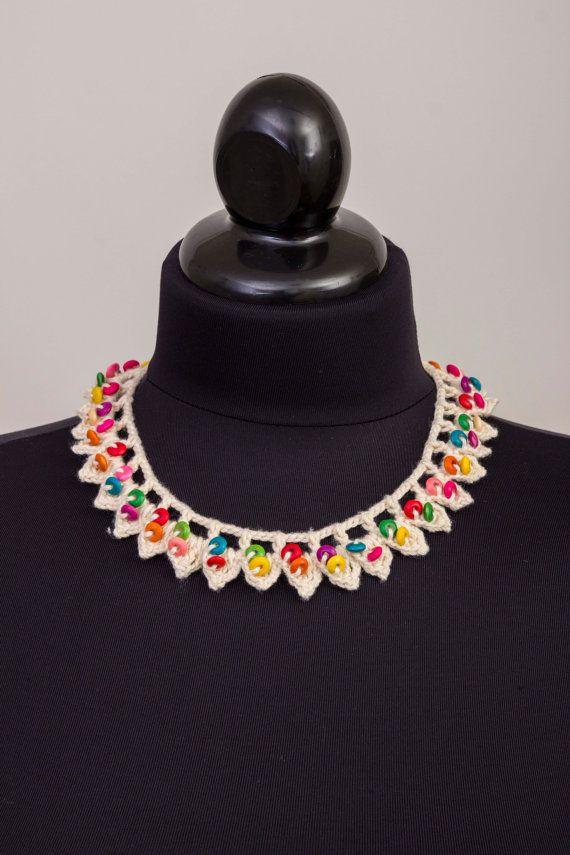 Beaded necklacecrochet oya necklace crochet bip by SenasShop