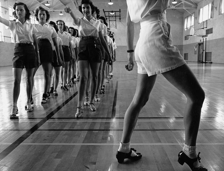 Tap dancing class in the gymnasium at Iowa State College. Ames, Iowa, 1942
