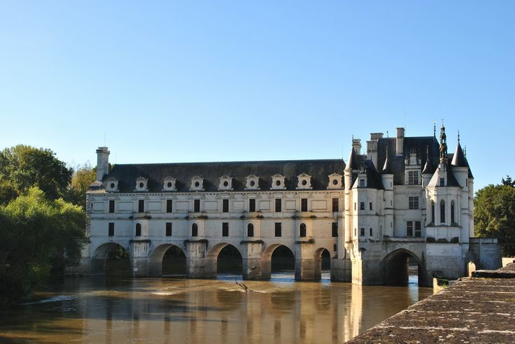 A view of Chenonceau from the garden of Diane de Poitiers.  While she lived there, she had a beautiful formal garden laid out. The chateau crosses the river Cher.  For many years it was the only crossing over the river, which was an important factor in its preservation.
