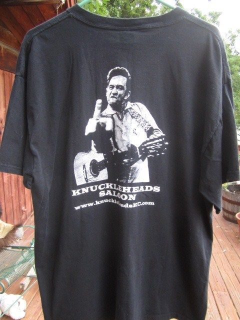 Knuckleheads Saloon Tee Blues Club Johnny Cash Flip Off Kansas City T-Shirt XL #JohnnyCashRules #Knuckleheads