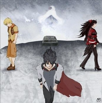 Taiyang Xiao Long, Raven Branwen, and Qrow Branwen at Summer Rose alter at cliff in Cliffside Forest