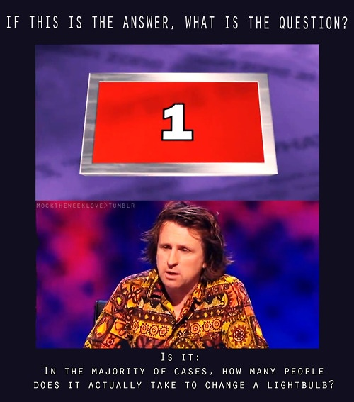 If this is the answer, what is the question? Milton Jones, Mock The Week.