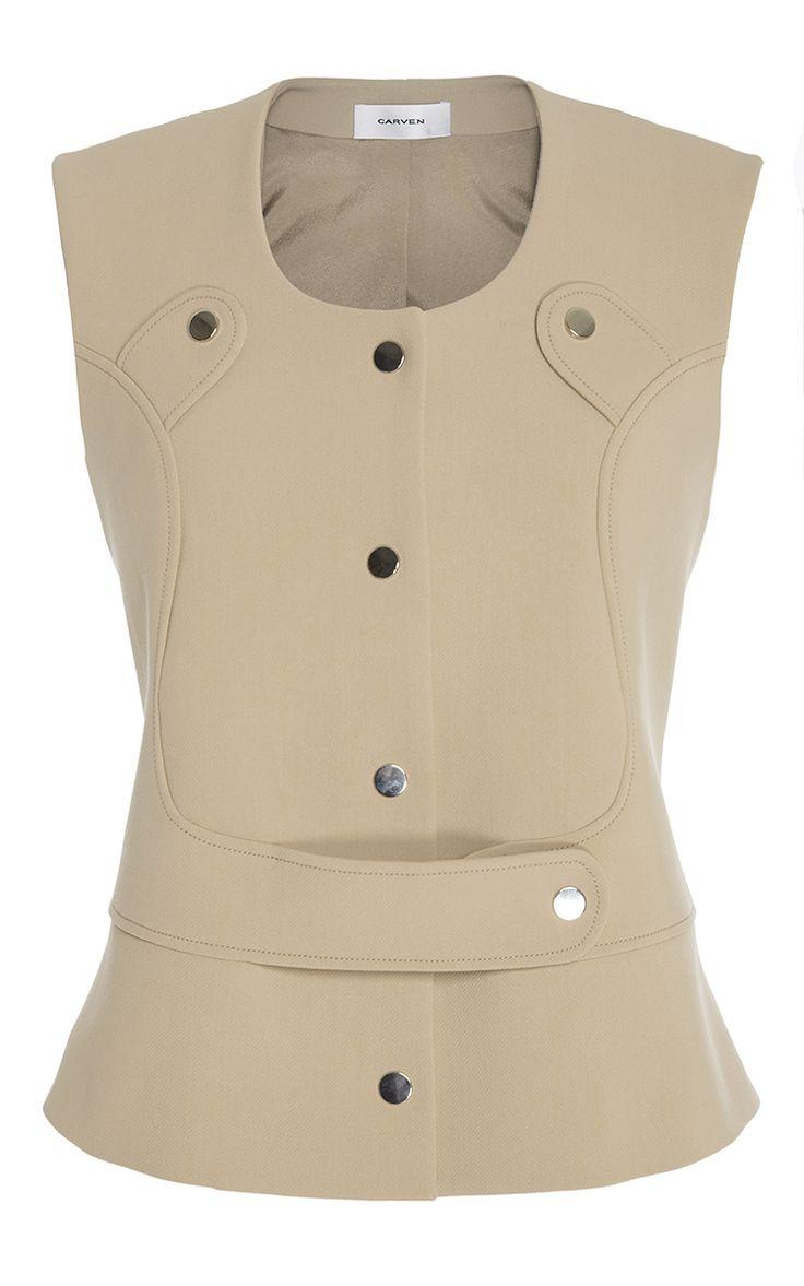 Crepe Vest by Carven for Preorder on Moda Operandi