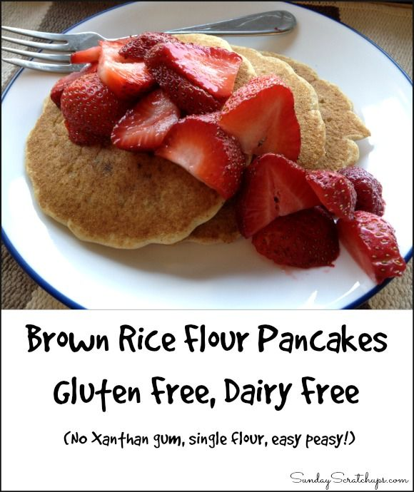 Brown rice flour pancakes -- easy single flour fluffy gluten free, dairy free pancakes, from scratch without a mix! Brown rice flour is also one of the most affordable gluten free flours.