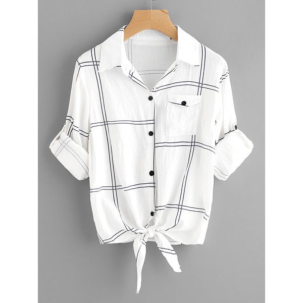 SheIn(sheinside) Rolled Sleeve Checked Knot Front Shirt ($13) ❤ liked on Polyvore featuring tops, black and white, roll sleeve shirt, long sleeve polyester shirts, white collar black shirt, black and white checkered shirt and summer tops